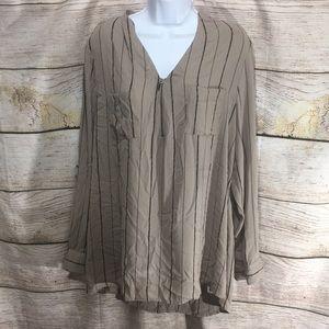 Apt 9 dress shirt 1/4 sip buttons on side XL brown